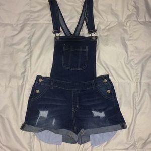 Dark blue short denim jean overalls